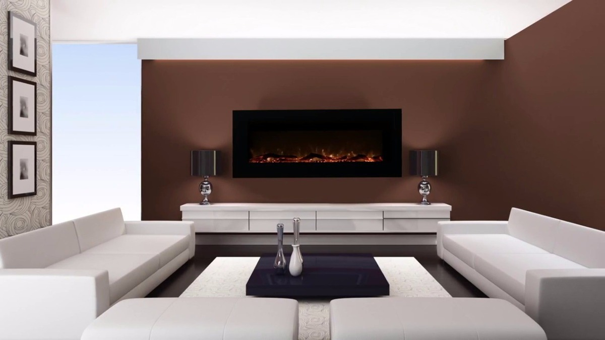 Chimenea el ctrica de pared frigidaire control remoto 50 for Salones con chimeneas electricas