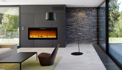 chimenea electrica de pared touchstone elegante color negro