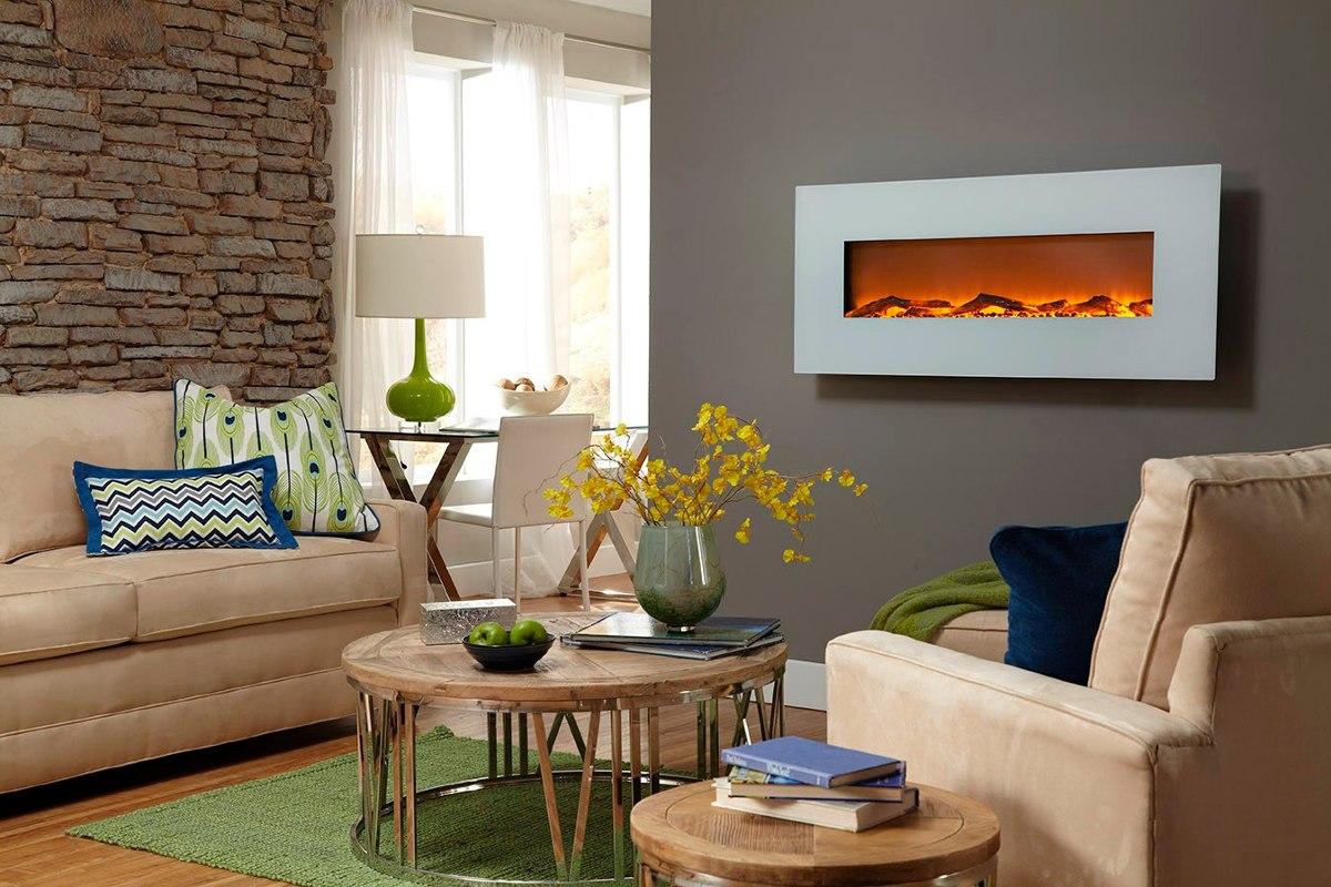 Chimenea electrica rectangular de pared color blanco - Color marfil en paredes ...