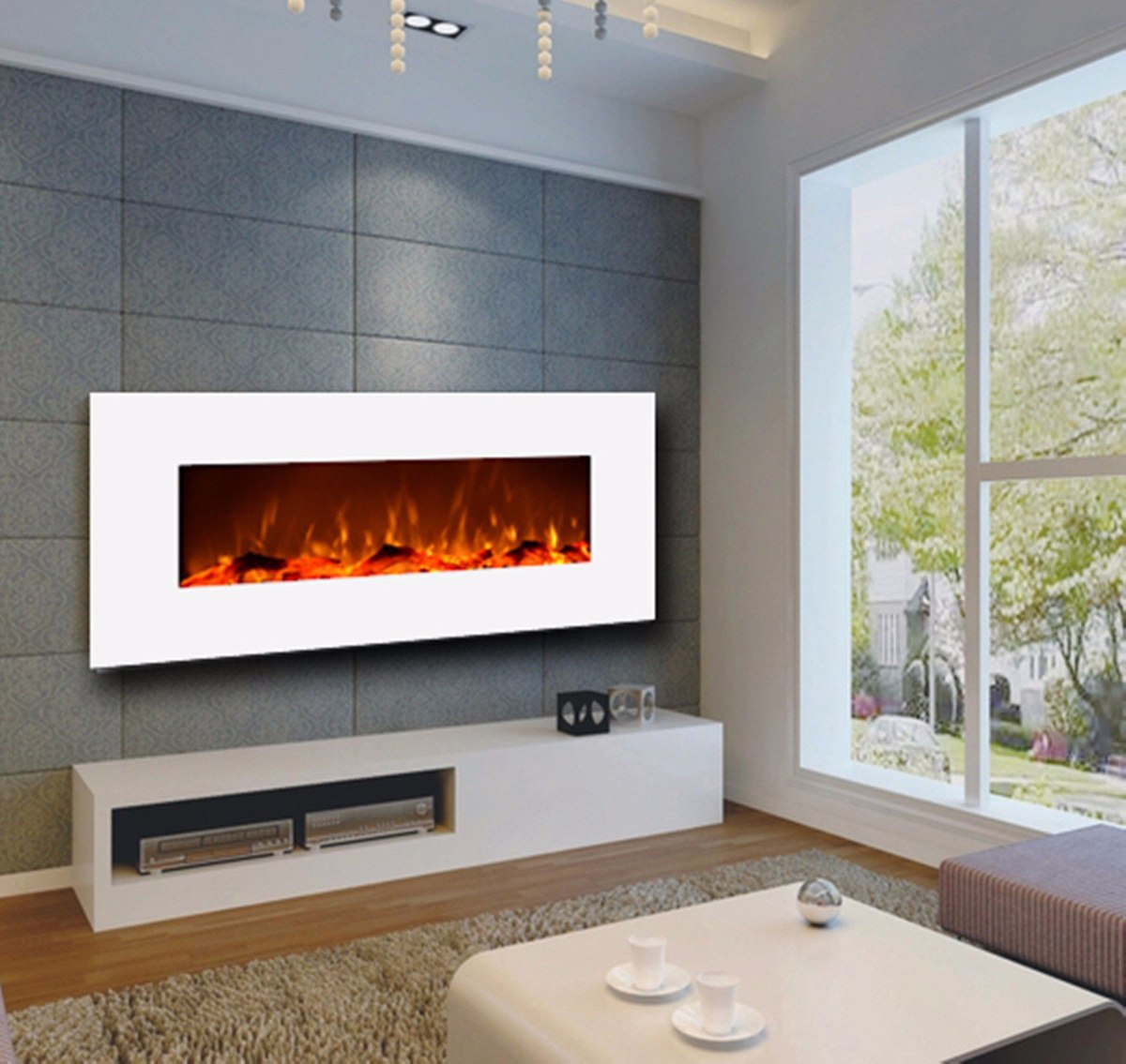 Chimenea electrica rectangular de pared color blanco - Chimenea de pared ...