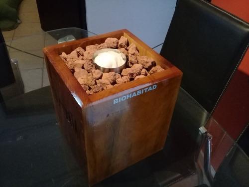 chimenea en madera de pino y quemador de acero 200ml