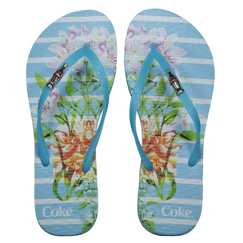 b0fb1628b Chinelo Coca Cola Bloom Stripes Feminino Azul - R$ 49,90 em Mercado ...