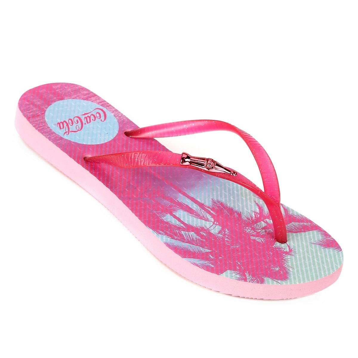 38deb8a48 Chinelo Coca-cola Bloom Stripes Feminino - Preto Original - R$ 64,99 ...