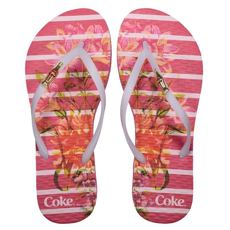 b666e99e9 Chinelo Coca Cola Bloom Stripes Feminino Rosa - R$ 54,90 em Mercado ...