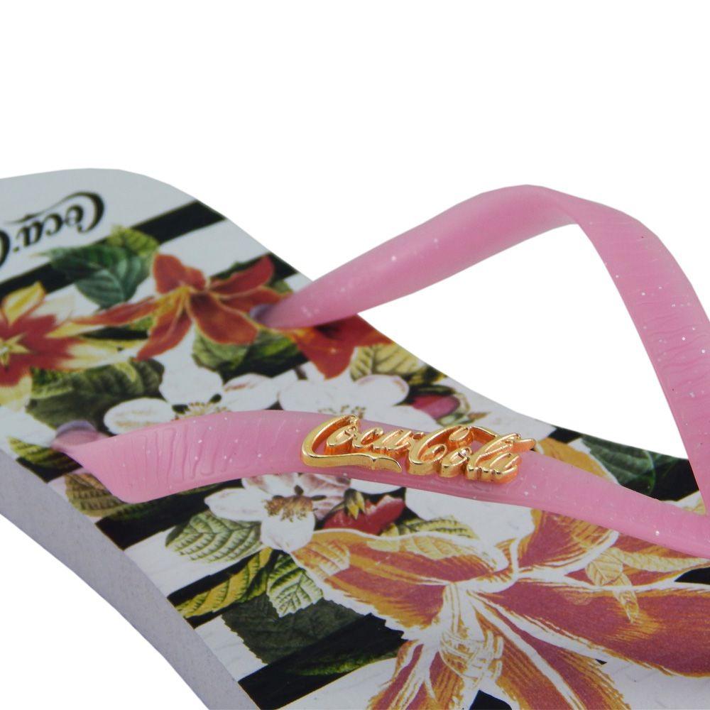 cda2c12b7 chinelo coca-cola feminino flower stripes branco rosa cc2581. Carregando  zoom.