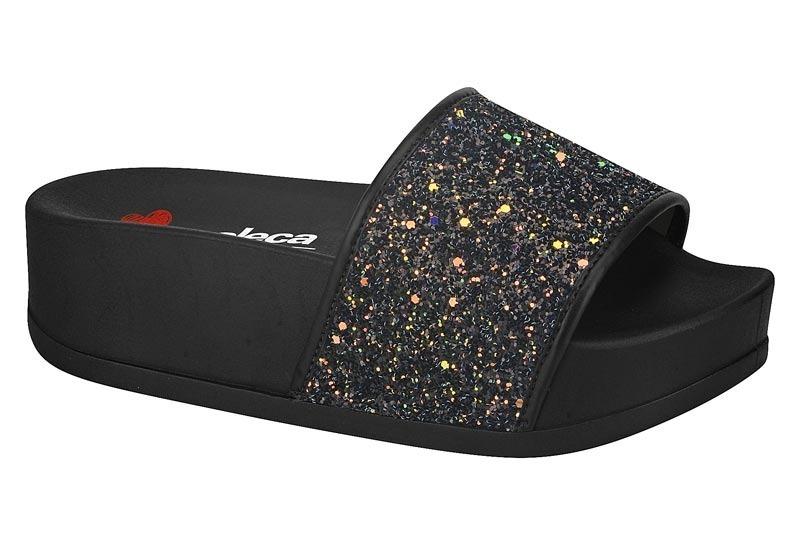 2b60056d1 Chinelo Com Salto Slide Moleca Glitter - Preto 5432.101 - R$ 79,00 ...