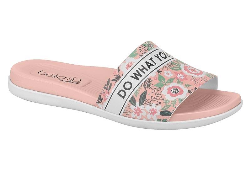 43894737e Chinelo Slide Eva Feminino Beira Rio Conforto Rosa Floral Fc - R$ 89 ...