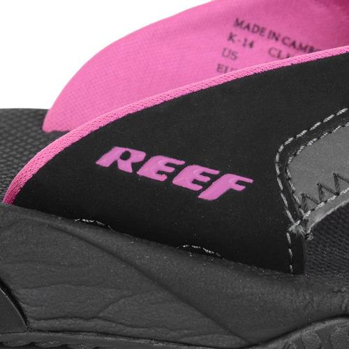 chinelo feminino reef girls fanning preto/rosa