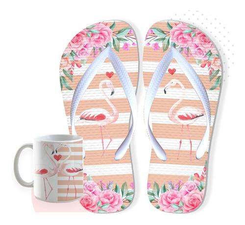 chinelo flamingo com caneca de brinde envio em 24 hs