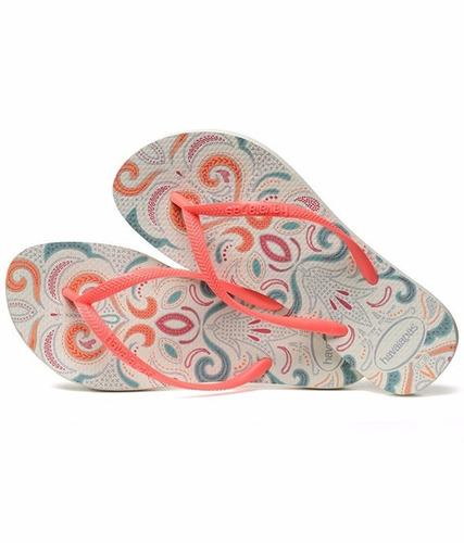 chinelo havaianas feminino original slim lace branca