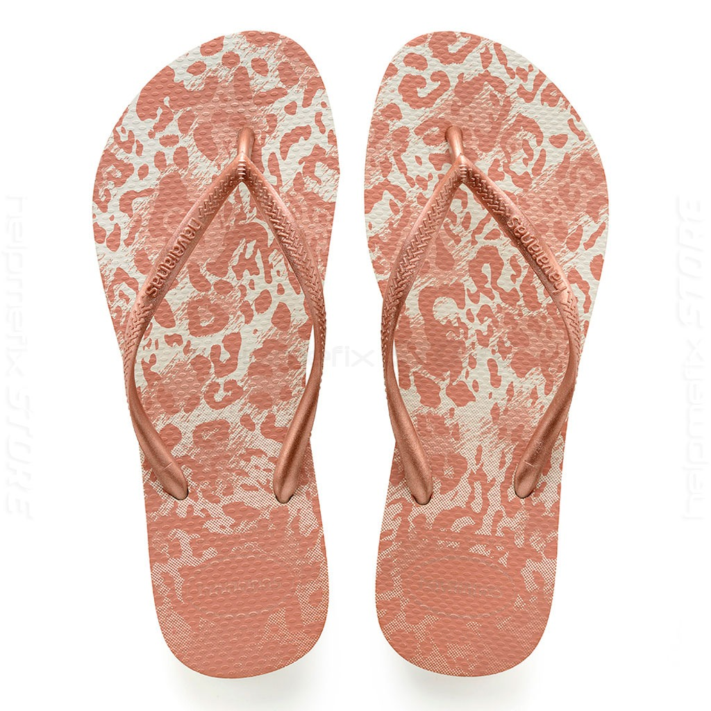 f0c8873d37 chinelo havaianas feminino slim animals onça rose original. Carregando zoom.