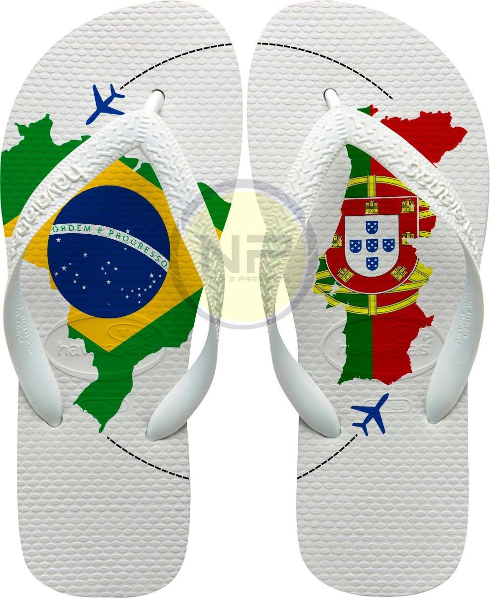 1d70370f7d chinelo havaianas personalizado brasil   portugal. Carregando zoom.