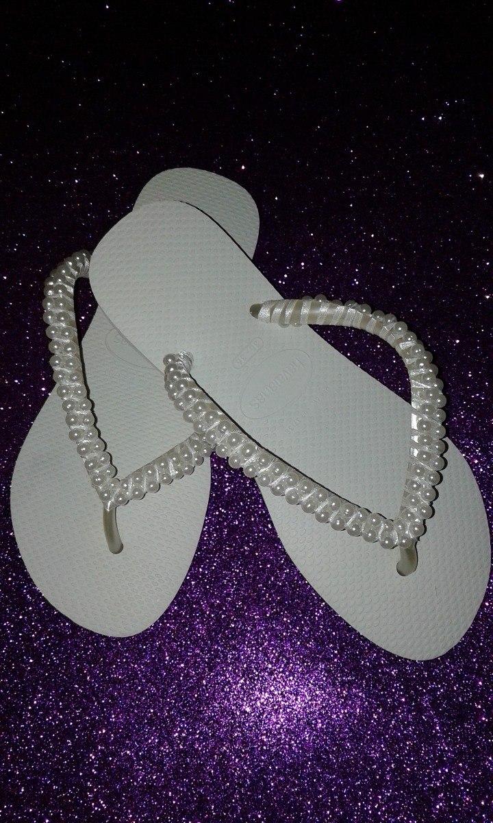 557e6f37d chinelo havaianas slim branco para com pérolas para noivas. Carregando zoom.
