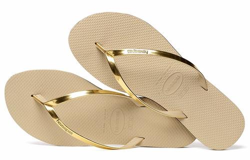 chinelo havaianas you metallic feminino - 1061 dourado