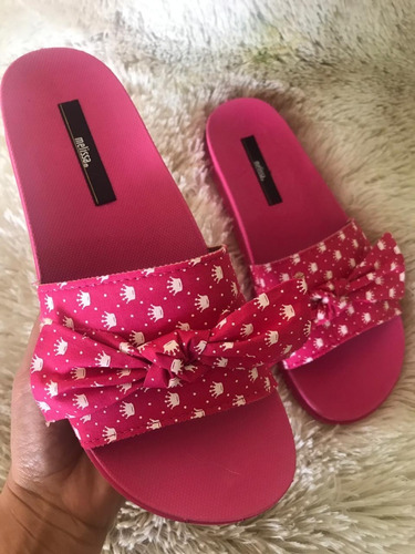 chinelo melissa beach slide confort rosa/branco