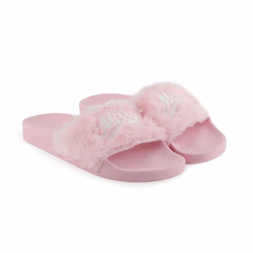 online store 728ef 716a8 Chinelo Missy Slide Rosa Fluffy Rihanna Fenty