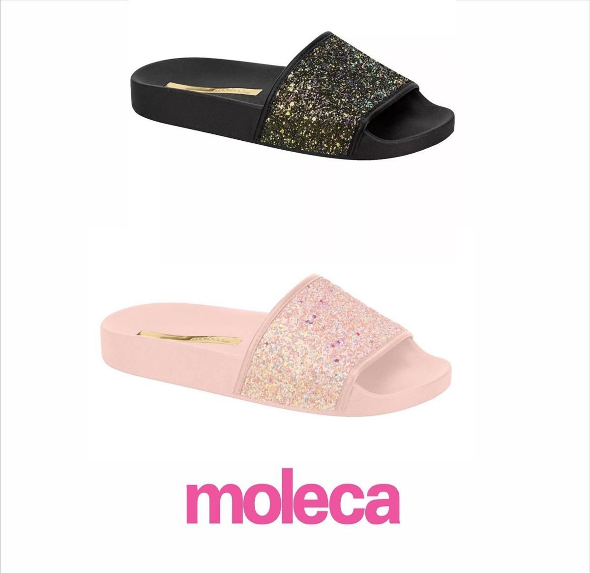 291524fea1 chinelo moleca slide glamour preto  rosa glitter 5414.107. Carregando zoom.