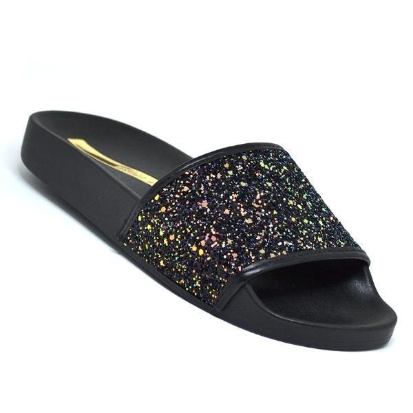 d011661cdaa71d Chinelo Moleca Slide Glitter Preto Feminino Original