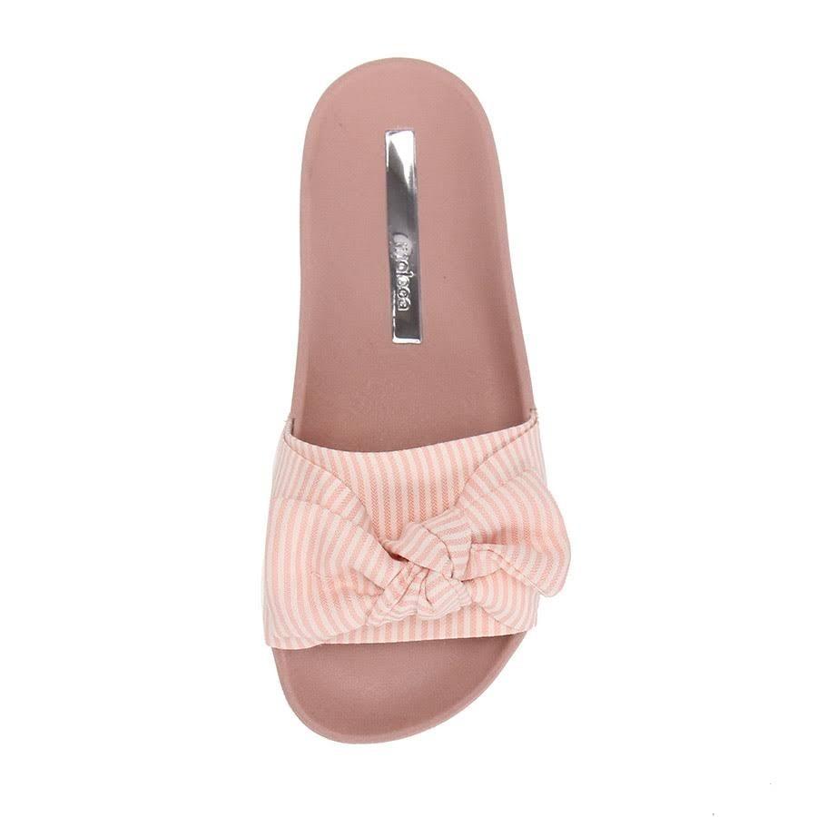 9fc9275b3 chinelo moleca slide laço listrado rosa feminino original. Carregando zoom.
