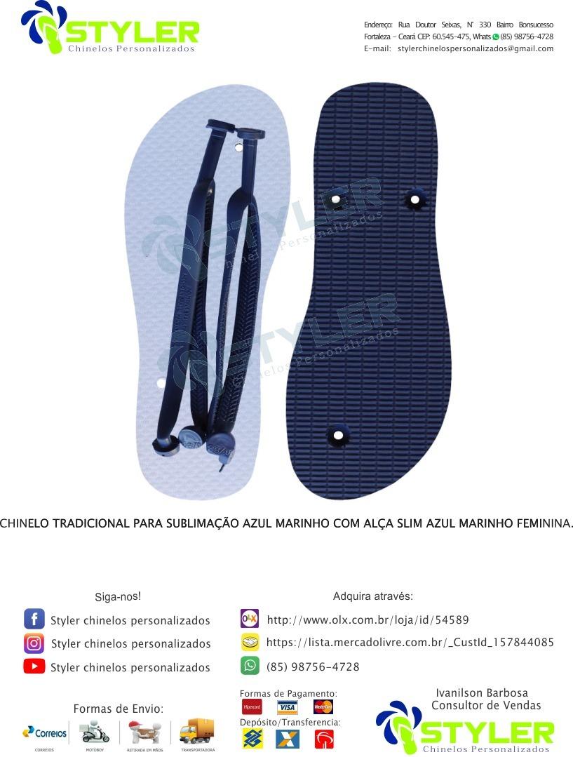 2eefade04 Chinelo Para Sublimação Azul Marinho, Kit Com 50 Pares - R$ 349,40 ...