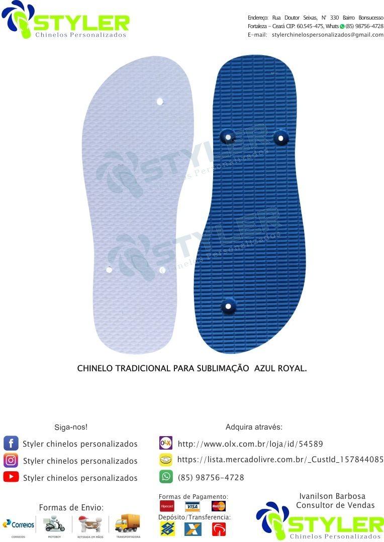 79f8da04a Chinelo Para Sublimação Azul Royal, Kit Com 75 Pares - R$ 524,25 em ...