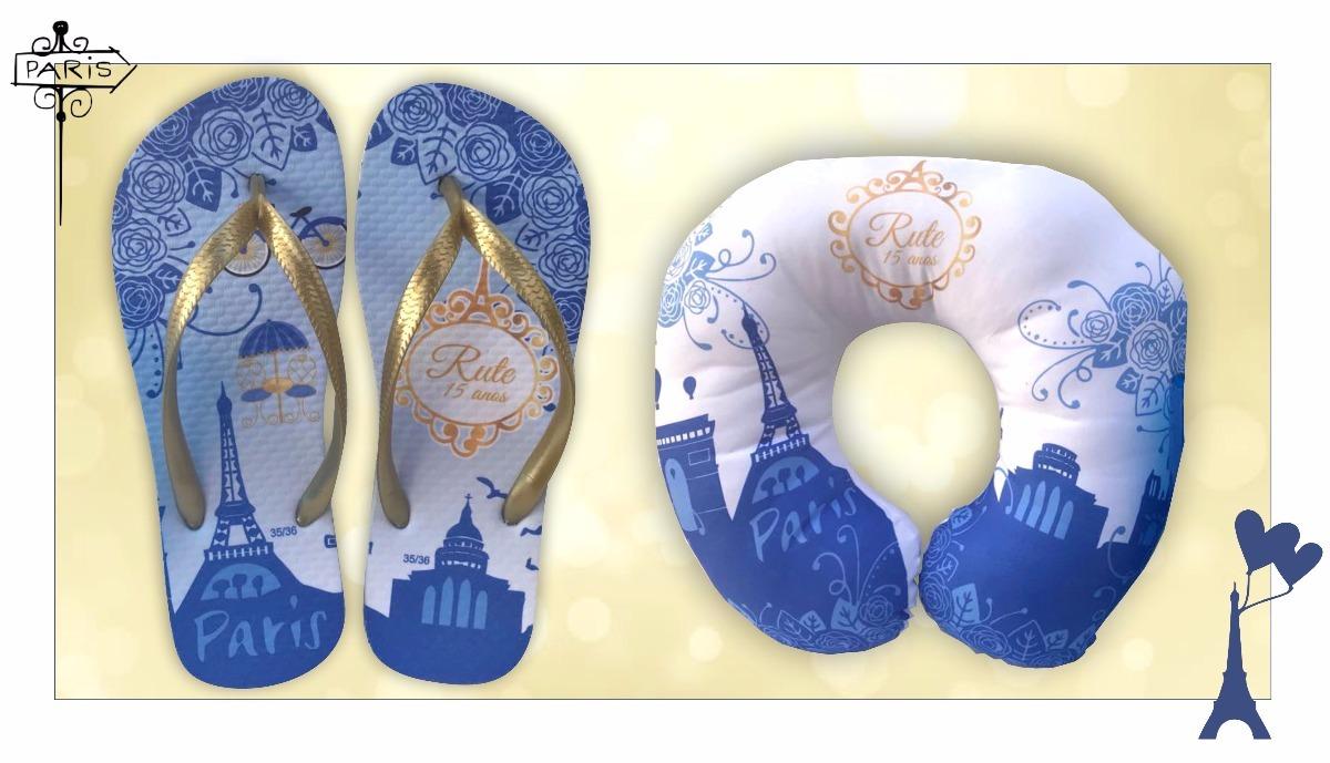 7580b387d02c7e Chinelo Personalizado 15 Anos Inverno Paris Azul