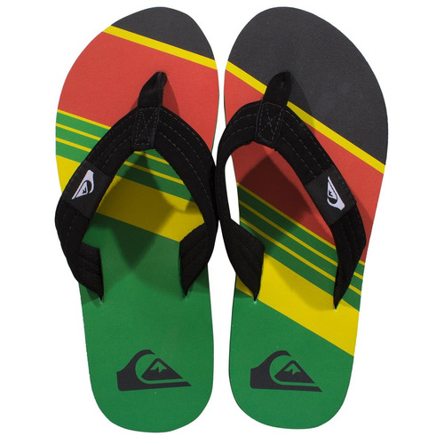 chinelo quiksilver foundation slash - rasta