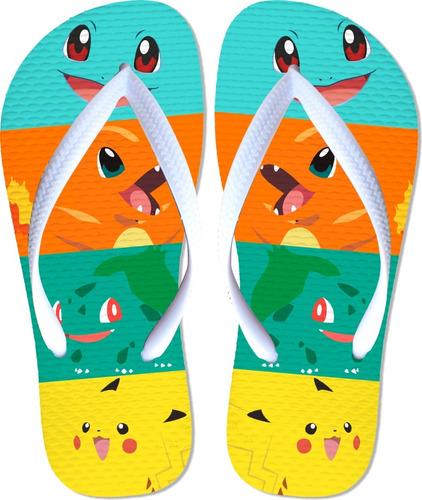 chinelo rasteirinha sandalia pokemon com 1 caneca de brinde