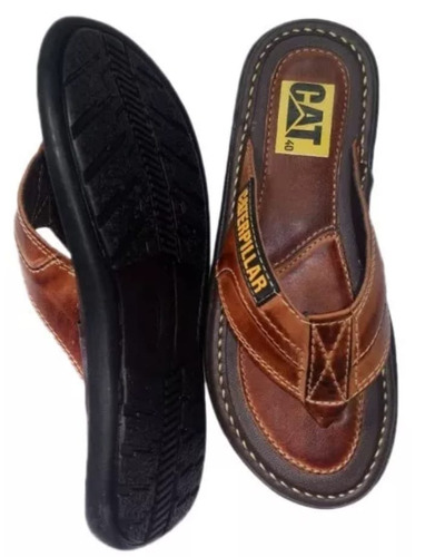 chinelo sandália caterpillar 100 % couro costurado + brindes