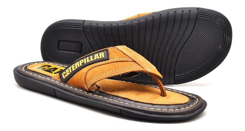 chinelo sandalia caterppilar masculino de couro legitimo