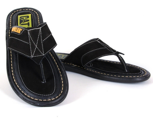 chinelo sandália masculino em couro caterpillar + brindes