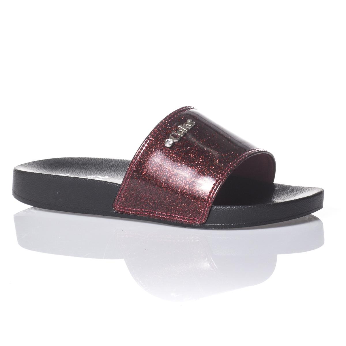 4278d707b chinelo slide coca-cola shoes glitter preto/vermelho. Carregando zoom.
