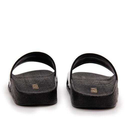 chinelo slide feminino lara - preto