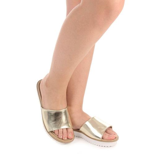 chinelo slide feminino via marte - dourado(a)