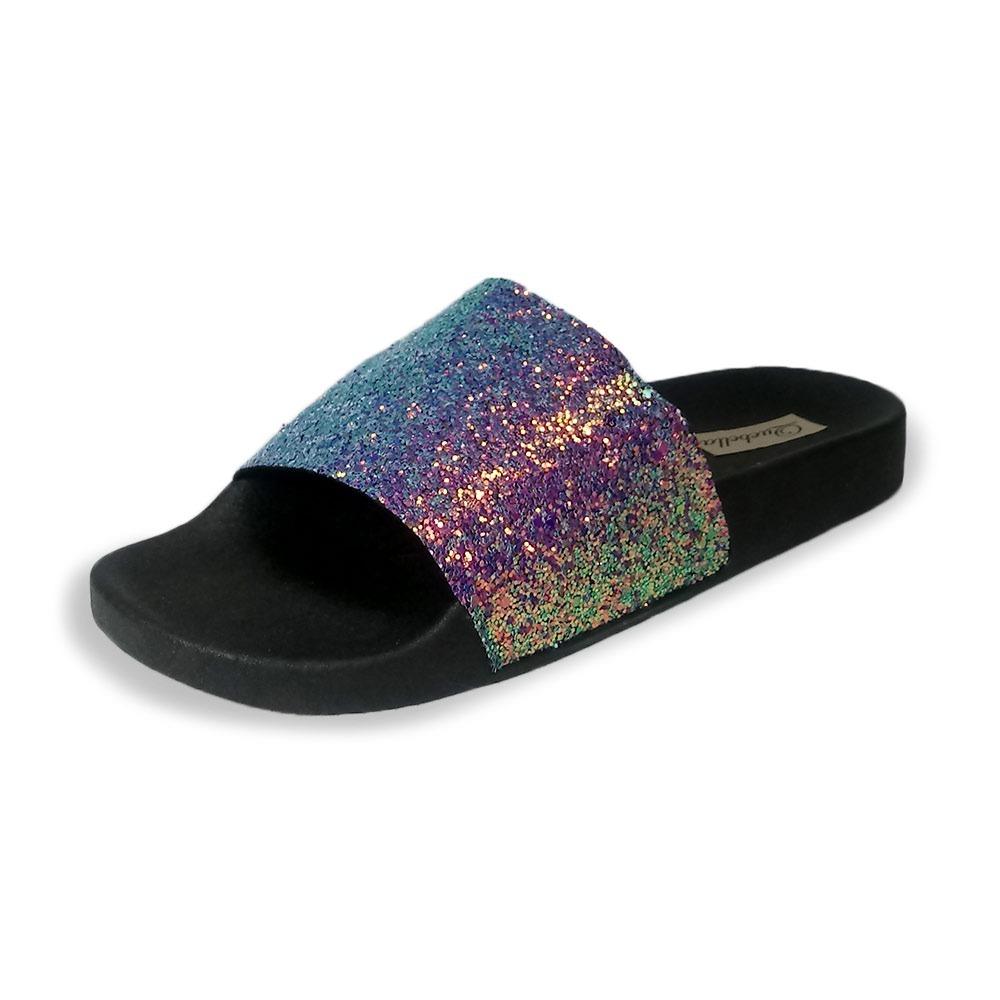 66f3fe8ec chinelo slide glitter preto - coleção verão 2018 tipo moleca. Carregando  zoom.