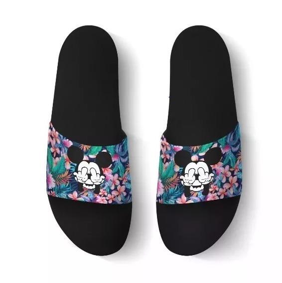 86160a4d251 Chinelo Slide Sandalia Mickey Thug Life Florido Feminino - R  49