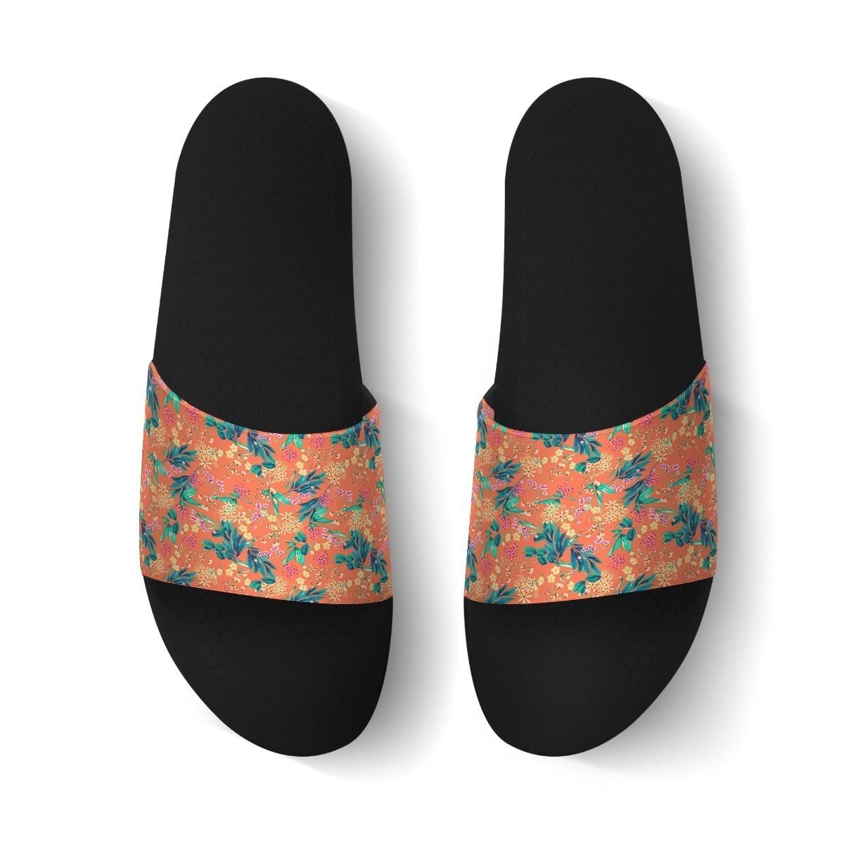 chinelo slide sandália unissex desenho tropical florzinhas r 123