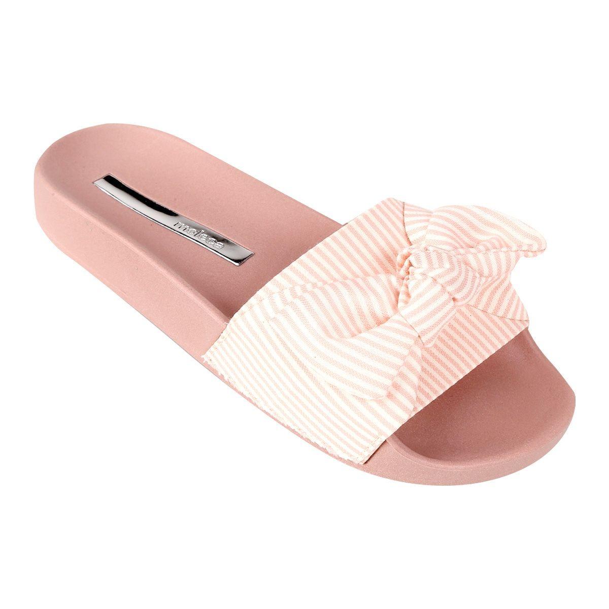 2d096ee98 chinelo slider feminino moleca de laço listrado rosa. Carregando zoom.