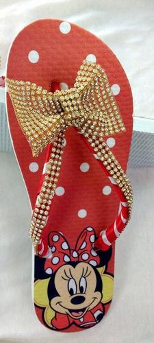 chinelo tipo havaianas - minnie com tira e laço de strass