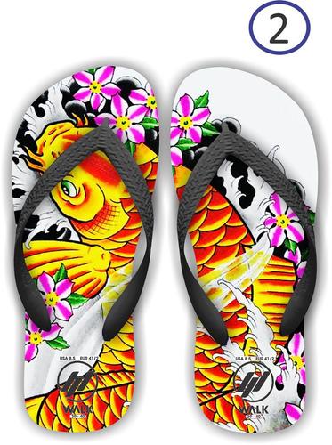chinelos carpas - peixe - tatoo - japonesa - arte