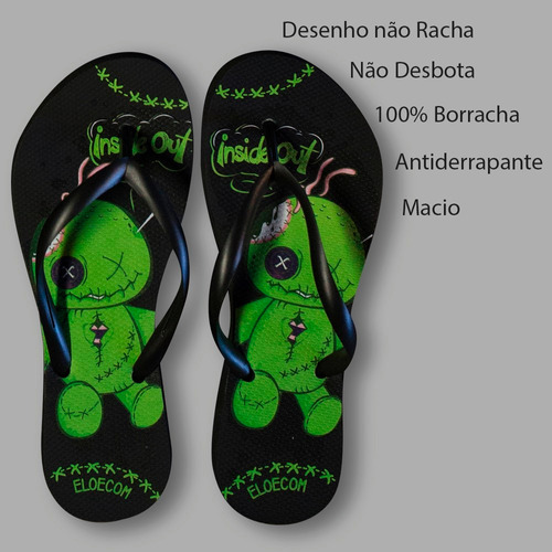 chinelos de borracha personalizado slim rock tipo havaiana