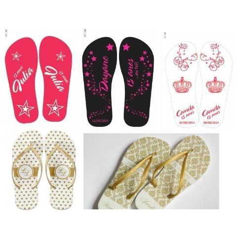 chinelos personalizados de cores, tamanho e temas variados