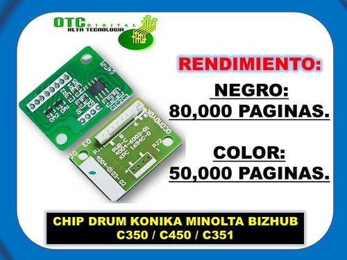 chip drum konica minolta bizhub c350 c450 c351