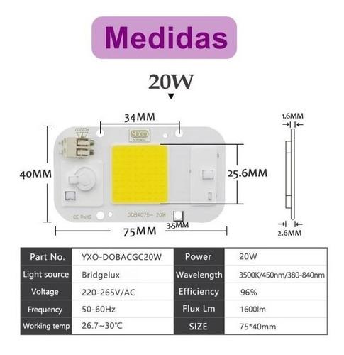 chip led 20w branco frio 220v smart nao usa reator e solda  cob retangular