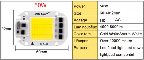 chip led 50w 6500k 5000 lumenes alta luminocidad ming ben
