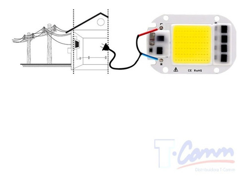 chip led cob 50w repuesto blanco frío directo 110v smart