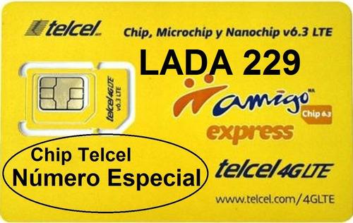 chip telcel 22 92 1111 xx número especial lada 229 c/nvío $.
