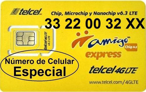 chip telcel 33 22 00 32 xx número especial lada 33 cenvío $.