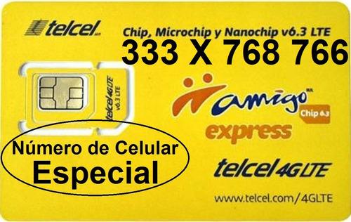 chip telcel 333 x 768 766 número especial lada 33 con envío.