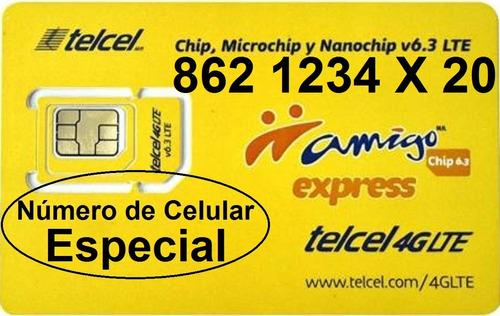 chip telcel 862 1234 x 20 número especial lada 862 cenvío$.